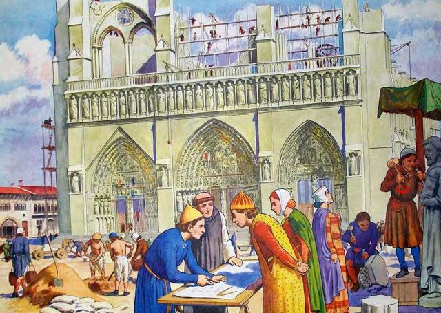 construction d'une cathédrale au Moyen-Age